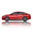 modern car sedan red color white background vector image