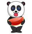 panda eating watermellon on white background vector image vector image