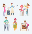 people cooking couples family preparing food at vector image vector image
