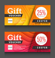 red yellow gift voucher certificate coupon design vector image vector image