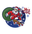 santa claus delivering the christmas gift vector image vector image