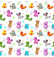 seamless pattern with funny textile stuffed toys vector image vector image