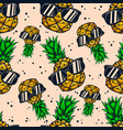 seamless pattern with pineapples with sunglasses vector image vector image