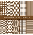 Set of 10 brown seamless geometric patterns vector image vector image