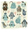 set of crazy birds vector image vector image