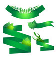 set of green ribbons with leaves element for your vector image vector image