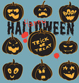 Set Of Vintage Happy Halloween pumpkins Halloween vector image