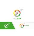 speedometer and rocket logo combination vector image vector image