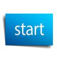 start blue paper sign on white background vector image vector image