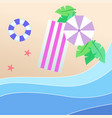 summer beach purple umbrella beach mat swimming ti vector image vector image