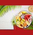 tropical fruits plate realistic vector image