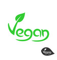 vegan text logo with green leaf on v letter plant vector image
