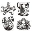 vintage monochrome wild west emblems vector image vector image