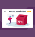 vote election and social poll landing page vector image vector image
