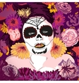 Young pretty Mexican Sugar Skull girl y with vector image vector image