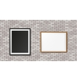 White brick wall with frames vector image