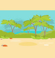 jungle forest green landscape with sea flat vector image