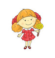 a lovely charming cartoon girl with a lollipop vector image