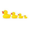 adorable rubber ducks in row from big to small vector image vector image