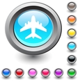 Aircraft round button vector image vector image