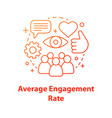 average audience engagement rate concept icon vector image vector image