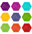axe icons set 9 vector image