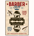 barber shop vintage poster with pole and blade vector image vector image