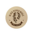 black pepper emblem with hand drawn pepper plant vector image vector image