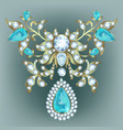brooch with diamonds vector image vector image