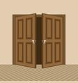 brown open door vector image vector image