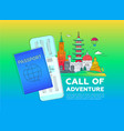 call of adventure - line travel vector image vector image