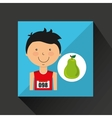 cartoon boy athlete with pear vector image