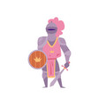 cartoon woman knight in pink metal armor with vector image