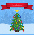 christmas tree with colorful toys vector image