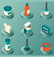 cleaning color isometric icons vector image vector image
