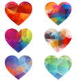 Colorful hearts with geometric pattern vector