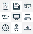 computer outline icons set collection of floppy vector image vector image