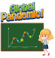coronavirus global pandemic with second wave graph vector image vector image