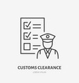 customs clearance flat line icon policeman vector image vector image