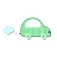 cut out fabric or paper chequered green retro car vector image vector image