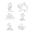 cute cartoon baplaying with toys and a dog vector image vector image