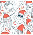 cute santa clauses seamless pattern vector image vector image