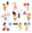 cute smiling boys and girls child learning rules vector image vector image