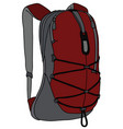 dark red and gray backpack vector image