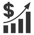 dollar bar chart trend flat icon vector image vector image