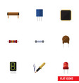 flat icon technology set of resistor cpu bobbin vector image vector image