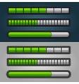 Green Striped Progress Bar Set vector image