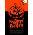 Halloween pumpkin horror party poster vector image vector image