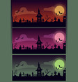 halloween scary cartoon set creepy vector image