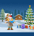 happy kid wearing a winter clothes in christmas da vector image
